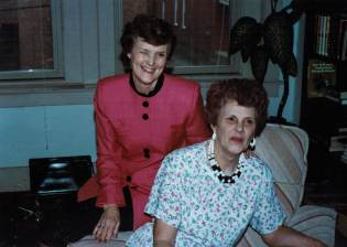 Aunt Mae and Mom in mid-gab, 1991
